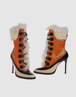 Dsquared2 Women - Footwear - Ankle boots Dsquared2 on YOOX :  laces embroidered faux fur ecological