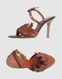 Dsquared2 Women - Footwear - High-heeled sandals Dsquared2 on YOOX :  leather etched leaf brown