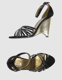 MIU MIU Women - Footwear - Wedge MIU MIU on YOOX :  wedges black leather women