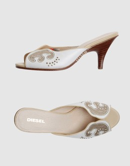DIESEL Women - Footwear - High-heeled sandals DIESEL on YOOX :  sandal leather embroidered kitten heel